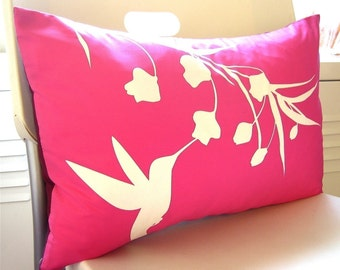 Hot Pink Hummingbird with Eucalyptus Rectangle Pillow