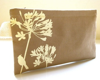 SALE Tan Cardinal on Agapanthus Pouch
