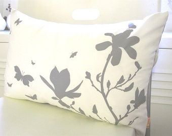 Limited Time Sale Grey Print on Off White Cotton Magnolia and Butterflies Rectangle Pillow