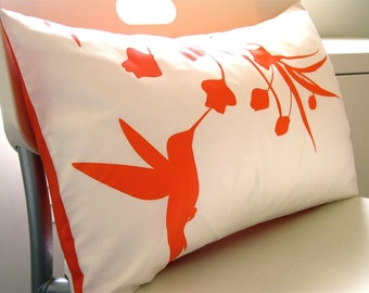 Orange Print on Off White Cotton Hummingbird with Eucalyptus Rectangle Pillow