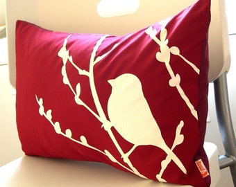 Red  Bird on Cherry Blossom Pillow