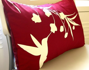 Red Hummingbird with Eucalyptus Rectangle Pillow