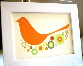 Framed Orange Birdie Print