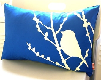 Cobalt Blue Bird on Cherry Blossom Pillow