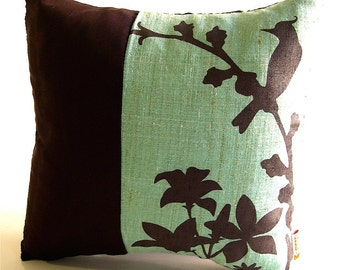 SALE Silver Green Cardinal Throw-Mini 10.5 Inches Square Pillow  Ready to ship