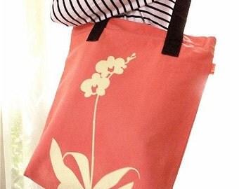 SALE Coral Orchid Shoulder Tote Bag