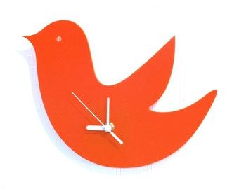 Orange Birdie Wall Hanging Clock