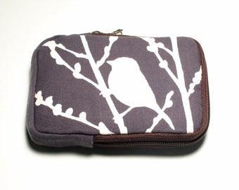 SALE Slate Grey Bird on Cherry Blossom Case