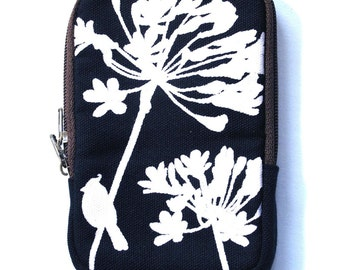 SALE Navy Blue Cardinal on Agapanthus Case