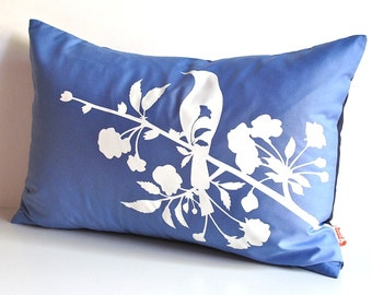 Limited Time Sale Royal Blue Blooming Blossom Rectangle Pillow