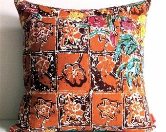 Brown Tones Floral Batik Pattern 16 Inches Square Pillow Cover