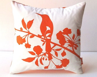 Orange Print on Off white Blooming Blossom-Mini 10.5 Inches Square Pillow
