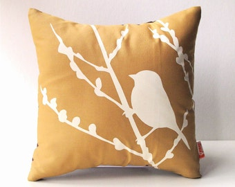 Golden Brown Bird on Cherry Blossom - Mini 10.5 Inches Square Pillow