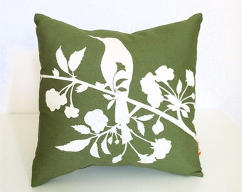 SALE Olive Green Blooming Blossom-Mini 10.5 Inches Square Pillow