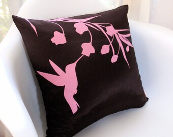 Limited Time Sale Rose Pink Print on Brown Silk Hummingbird with Eucalyptus 16 inches Square Pillow  READY TO SHIP