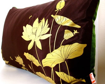 Limited Time Sale Lotus Pond Pillow with Olive Green Velvet Backing