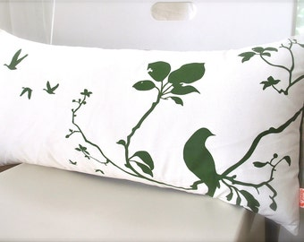 Limited Time Sale  Grass Green Print on Off White Flying By Rectangle Pillow   READY TO SHIP