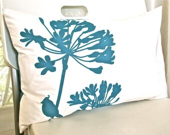 Teal Print on Off White Cotton Cardinal on Agapanthus Rectangle Pillow