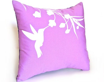 Lavender Hummingbird with Eucalyptus  - Mini 10.5 Inches Square Pillow