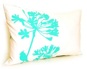 Mint Green Print on Off White Cotton Cardinal on Agapanthus Rectangle Pillow