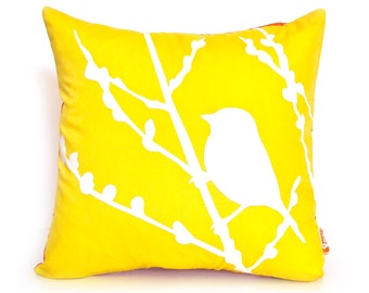 Yellow Bird on Cherry Blossom - Mini 10.5 Inches Square Pillow