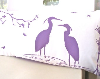 SALE - Plum Purple Print on Off White Egret Lovers in the Swamp Rectangle Pillow
