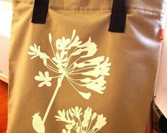 SALE Tan Cardinal on Agapanthus Shoulder Tote Bag
