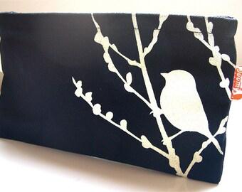 SALE Black Bird on Cherry Blossom Pouch