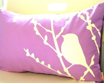Limited Time Sale Lavender Bird on Cherry Blossom Pillow