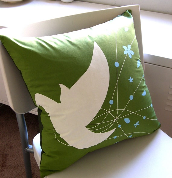 Olive Green Bride Bird 17 Inches Square Pillow