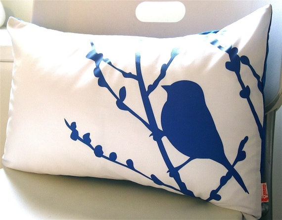 SALE Cobalt Blue Print on Off White Cotton Bird on Cherry Blossom Pillow