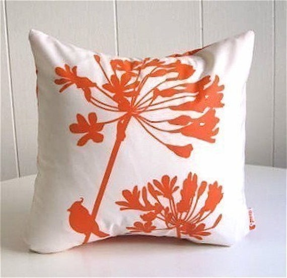 Orange Print on Off-White Cardinal on Agapanthus-Mini 10.5 Inches Square Pillow