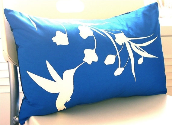 SALE Cobalt Blue Hummingbird with Eucalyptus Rectangle Pillow