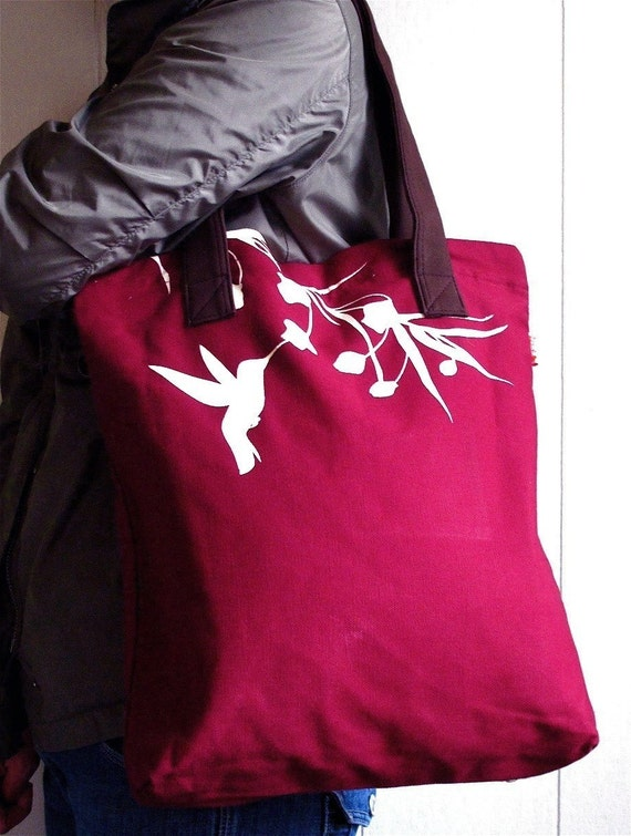 SALE Maroon Red Hummingbird with Eucalyptus Shoulder Tote Bag