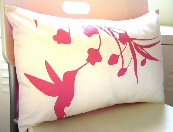 Hot Pink Print on Off White Cotton Hummingbird with Eucalyptus Rectangle Pillow