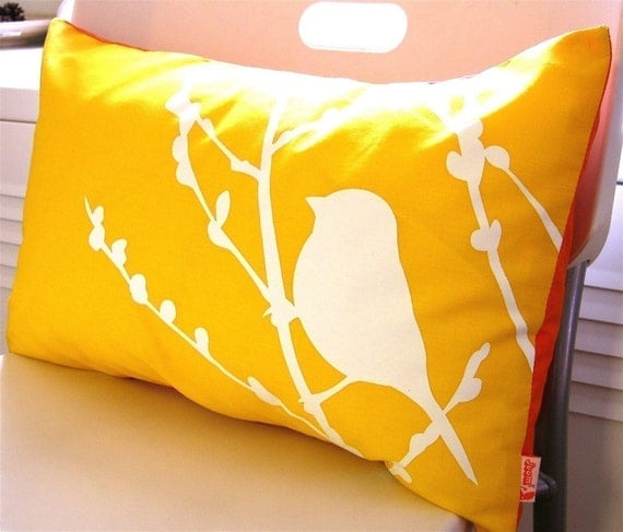SALE- Pineapple Yellow Bird on Cherry Blossom Rectangle Pillow