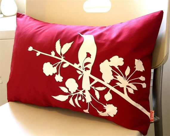 Limited Time Sale Red Blooming Blossom Rectangle Pillow READY TO SHIP