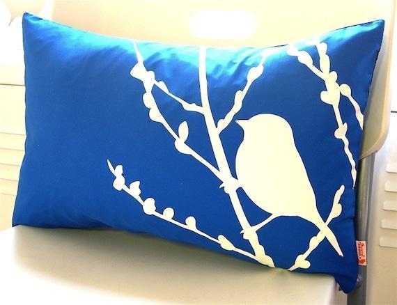 Cobalt Blue Bird on Cherry Blossom Pillow
