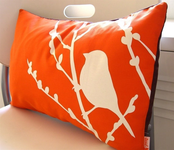 Orange Bird on Cherry Blossom Pillow