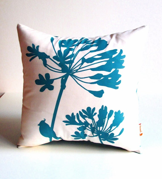 Teal Green Print on Off-White Cardinal on Agapanthus-Mini 10.5 Inches Square Pillow
