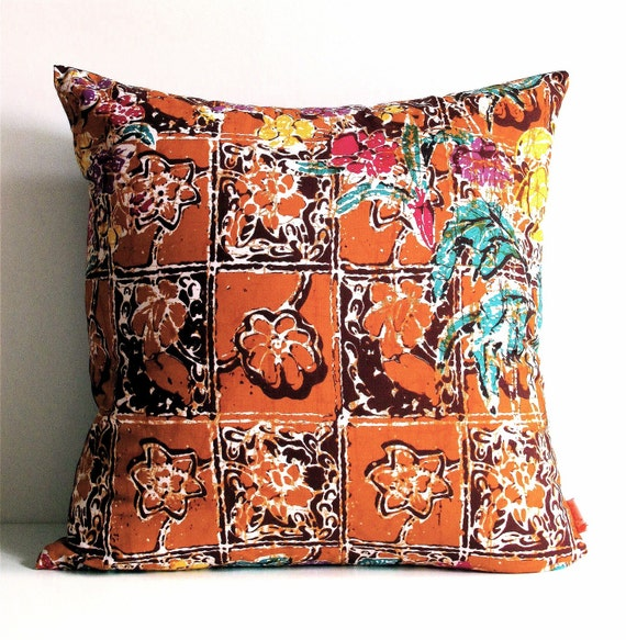 The Brown Tones Floral Batik Pattern 16 Inches Square Pillow Cover