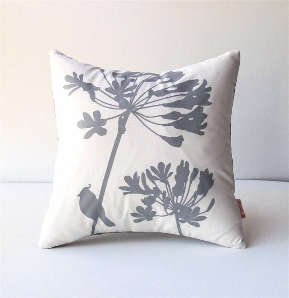 Grey Print on Off-White Cardinal on Agapanthus-Mini 10.5 Inches Square Pillow