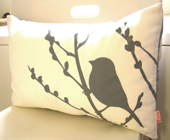 Grey Print on Off White Cotton Bird on Cherry Blossom Pillow