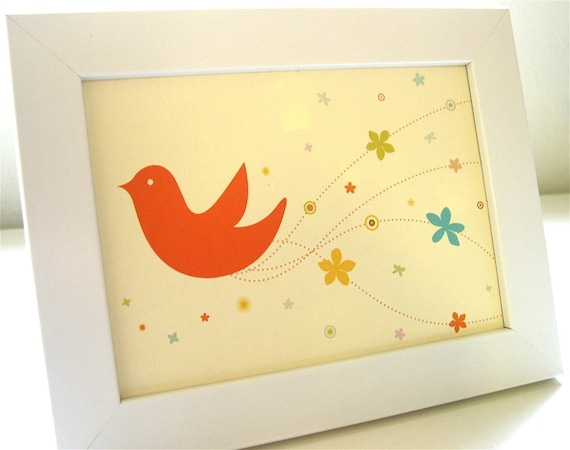 Framed Orange Bride Bird Print
