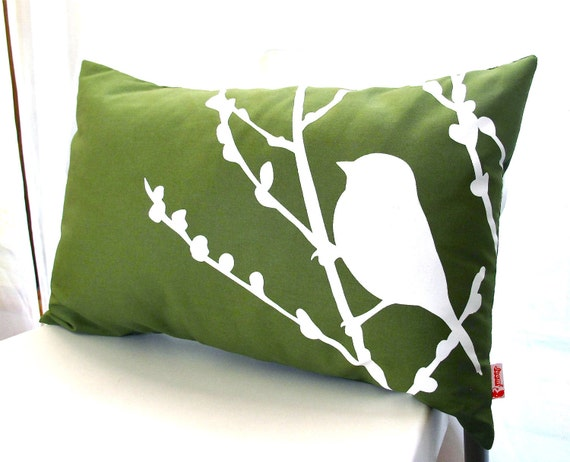 Olive Green Bird on Cherry Blossom Rectangle Pillow