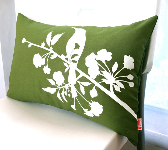 Limited Time Sale  Olive Green Blooming Blossom Rectangle Pillow