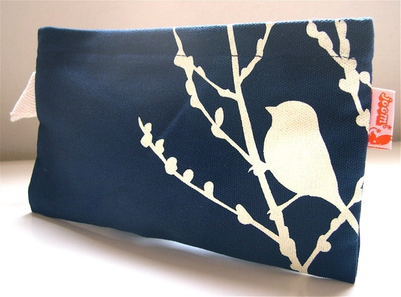 Navy Blue Bird on Cherry Blossom Pouch