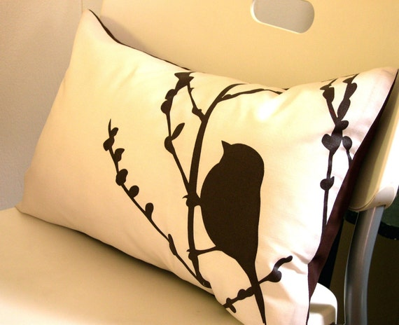 Brown on Off-white Bird on Cherry Blossom Pillow