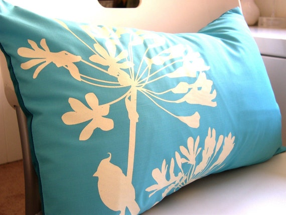 Blue Full Print Cardinal on Agapanthus Rectangle Pillow