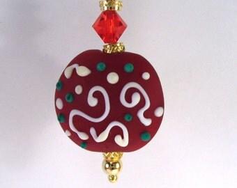 Red Lentil Lampwork Pendant